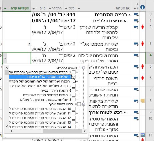 צילום מסך של התפריט הנפתח של עמודת פעילות קדם ב- Project