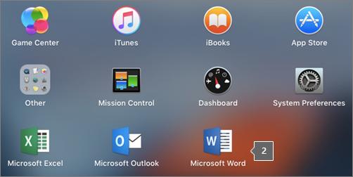 הצגת הצלמית Microsoft Word בתצוגה חלקית של ה- Launchpad