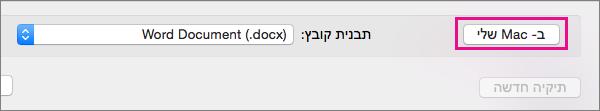 אם ברצונך לשמור קובץ במחשב, ולא OneDrive או SharePoint, לחץ על שלי mac.