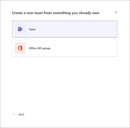 יצירת צוות מצוות קיים ב-Microsoft Teams