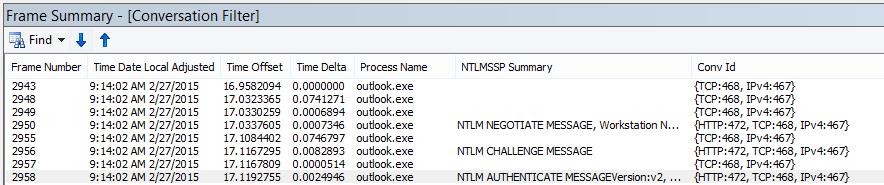 מעקב Netmon המציג אימות של שרת Proxy, מסונן לפי שיחה.