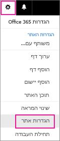 בפינה השמאלית העליונה, בחר את לחצן 'הגדרות', לאחר מכן בחר באפשרות 'הגדרות האתר'.