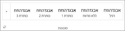 צילום מסך של הקבוצה 'סגנונות' בכרטיסיה 'בית', המציגה סגנונות כגון 'כותרת 1', 'כותרת 2' ו'כותרת 3'.