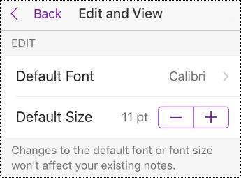 שינוי אפשרויות סוג וגודל גופן ב'הגדרות' ב- iPhone.