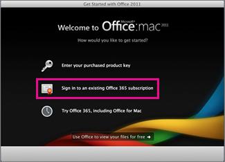 דף ההתקנה של Office for Mac Home שבו אתה נכנס למנוי קיים של Office 365.