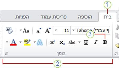 רצועת הכלים של Word 2010