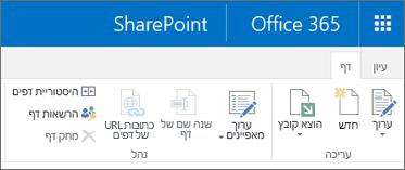 רצועת הכלים של SharePoint 2013 בפינה הימנית העליונה של המסך