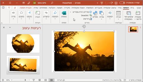 'מעצב' משפר את התמונות בשקופית בלחיצה אחת.