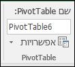 שינוי שם של PivotTable מכלי PivotTable > נתח > התיבה שם ה-PivotTable