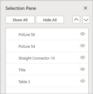 חלונית הבחירה מאפשרת לך לסדר מחדש, או לראות/להסתיר אובייקטים בשקופית שלך.