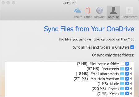 תיבת דו-שיח של תיקיות לסינכרון עבור OneDrive עבור Mac