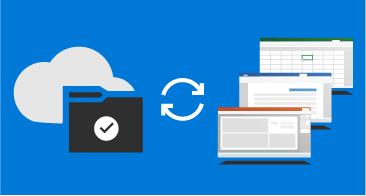 שלושה חלונות (Word, Excel, PowerPoint) משמאל, ענן ותיקיה מימין, וחץ כפול ביניהם