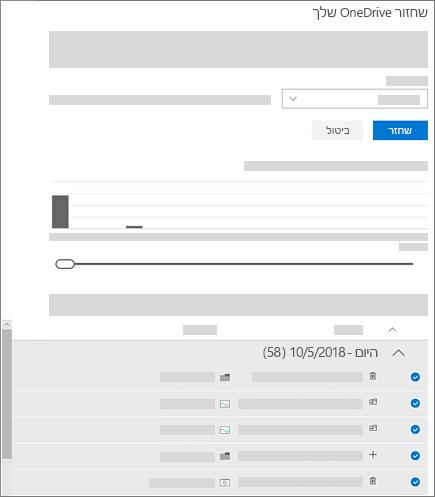 צילום מסך של שימוש בתרשים הפעילות ובהזנת הפעילות כדי לבחור פעילויות במסך 'שחזור OneDrive שלך'
