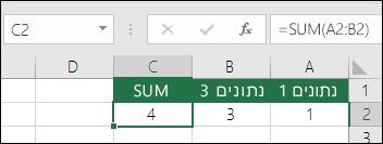 הפונקציה SUM תתאים את עצמה באופן אוטומטי עבור עמודות ושורות שיתווספו או יימחקו