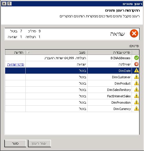 הודעות מצב רענון נתונים ב- PowerPivot