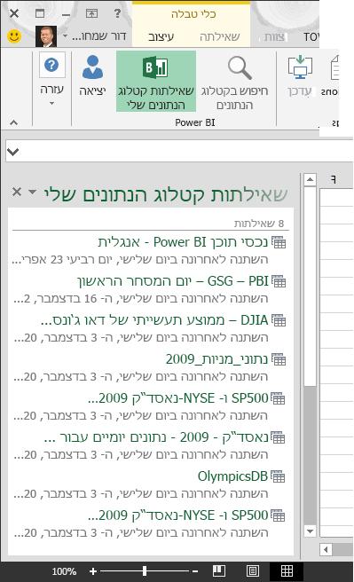 החלונית 'השאילתות שלי בקטלוג הנתונים'
