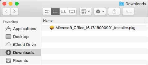 הצלמית 'הורדות' ב- Dock מציגה את חבילת תוכנת ההתקנה של Office 365
