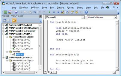 מודול המכיל שתי פקודות מאקרו מאוחסן ב- Module1 של Book1