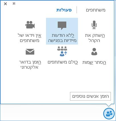 צילום מסך של האפשרות 'ללא הודעות מיידיות בפגישה'
