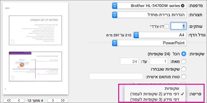 דפי מידע להדפסה ב- PowerPoint for Mac Preview