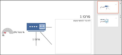 צילום מסך של שקופית PowerPoint עם גרפיקת כותרת ושקופית.