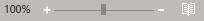 דוגמה של מחוון גודל התצוגה של Outlook ' ו'אחוז '