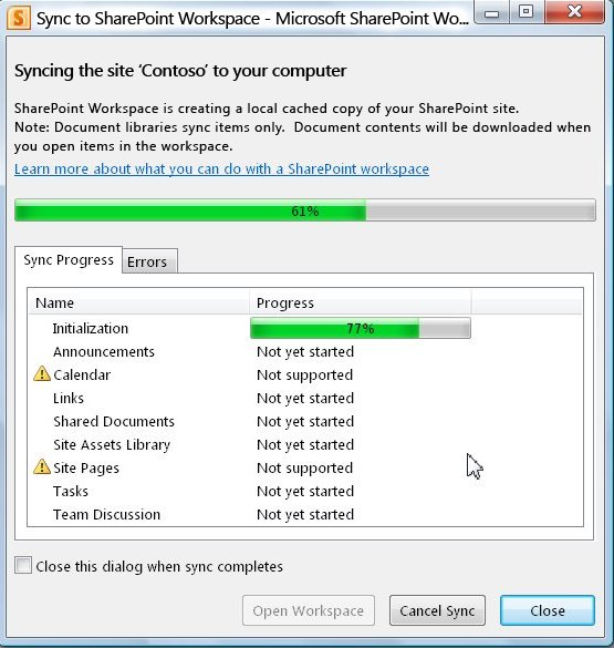חלון ההתקדמות של 'סינכרון למחשב'