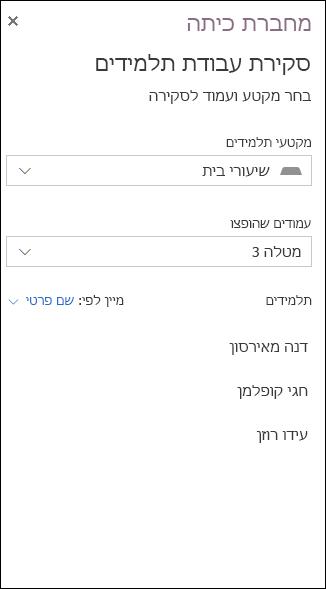 צילום מסך לדוגמה של אפשרויות לסקירת עבודת תלמידים