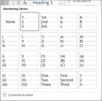 צילום מסך של האפשרות 'רשימה ממוספרת' בתפריט 'בית'.