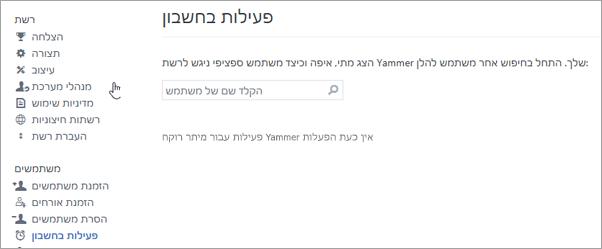 צילום מסך של פעילות חשבון עבור משתמש המציג לא פעיל Yammer הפעלות (מנותק)
