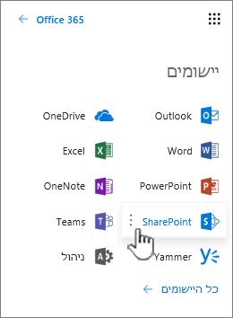 רשימת האפליקציות של Office 365 מתוך לחצן מפעיל היישומים