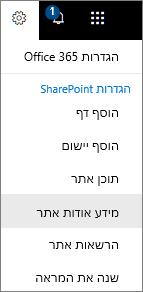 תפריט ' הגדרות ' עם מידע אודות האתר שנבחר