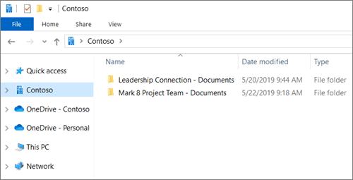 צילום מסך המציג תיקיות סינכרון עבור OneDrive ואתרים.