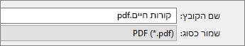 בחר PDF בתיבה 'שמור כסוג'.