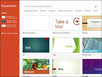 מסך ההתחלה של PowerPoint 2013