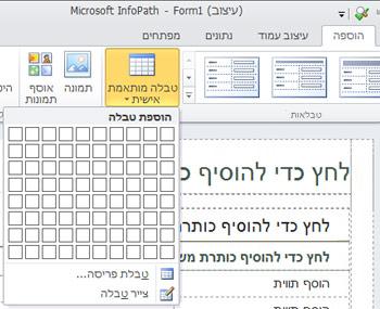 פריסת טופס InfoPath 2010