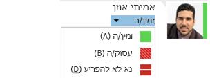 צילום מסך של רשימה נפתחת לשינוי נוכחות עם רשימת בחירות חלקית