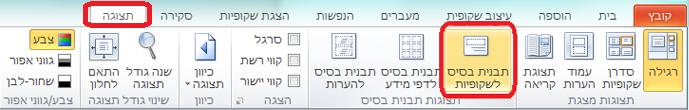 הכרטיסיה 'תצוגה' ב- PowerPoint, שבה באפשרותך לעבור לתצוגת 'תבנית בסיס לשקופיות'