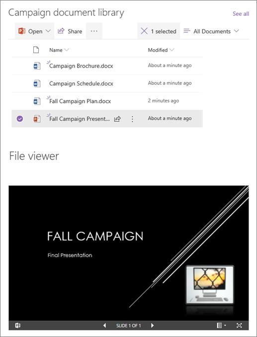 דוגמה של web part של מציג קבצים המחובר לספריית מסמכים