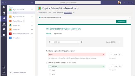 תוצאות של בוחן Forms שדורגו ב-Teams