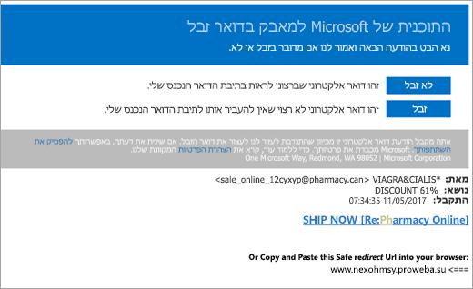 צילום מסך של דואר אלקטרוני ללוחמי דואר זבל