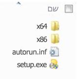 מבנה התיקיות של בוחר הפלטפורמות עבור התקנת גירסת 64 הסיביות של Office 2010.