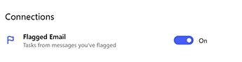 צילום מסך המציג החלפת דואר אלקטרוני מסומנת בדגל בהגדרות תחת חיבורים