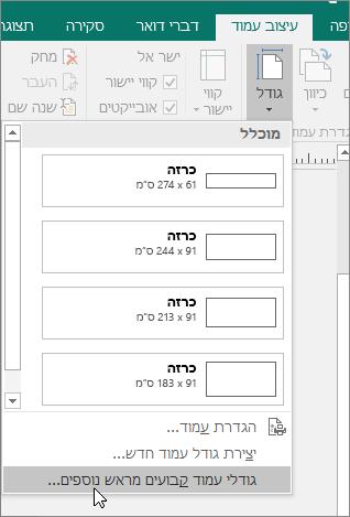 צילום מסך של האפשרות 'גודלי עמוד קבועים מראש נוספים' בכרטיסיה 'עיצוב עמוד' ב- Publisher.