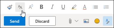 צילום מסך של האפשרות 'גודל גופן' בסרגל הכלים 'עיצוב'.