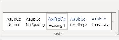 גלריית הסגנונות של Word Online