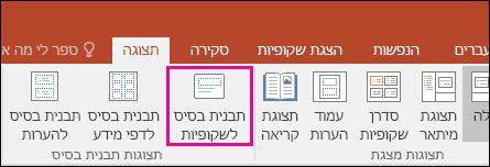 הצגת לחצן 'תבנית בסיס לשקופיות' ברצועת הכלים ב- PowerPoint