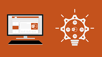 עמוד כותרת באינפוגרפיקה של PowerPoint - מסך עם מסמך PowerPoint ותמונה של נורת חשמל