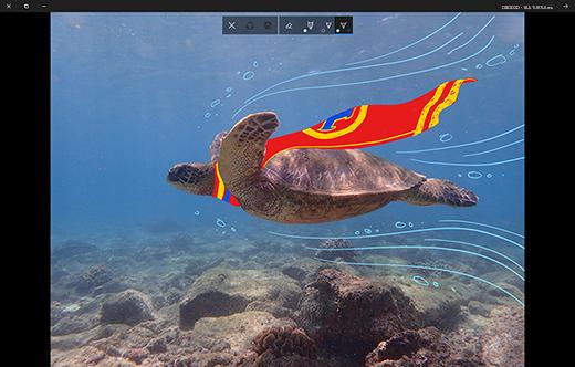 ציור על תמונה באפליקציית 'תמונות' של Microsoft.