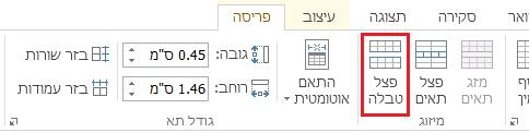 האפשרות 'פצל טבלה' נמצאת בכרטיסיה 'פריסה'.